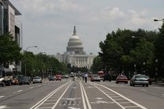Stock Photo of the capitol building in washington, streetview
