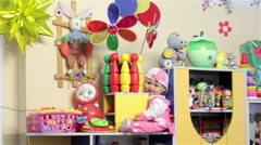 toys in the kindergarten - stock footage