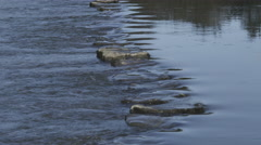 Stepping stones on the River Ewenny at Ogmore Castle, Ogmore, South Wales 4K Stock Footage
