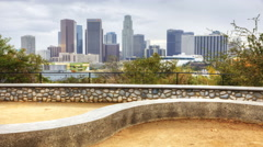 4K UltraHD View of Los Angeles skyline with stone dyck in the foreground Stock Footage