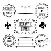 Set of decorative frames, borders and dividers - vintage retro style Stock Illustration