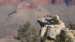 Grand Canyon beautiful friends on cliff lookout point HD 088 Stock Footage