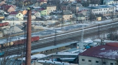 Industrial area. Train is going. View from a height Stock Footage