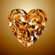 Yellow diamond heart Stock Illustration