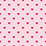 heart shape vector seamless pattern. pink and white colors - stock illustration