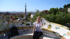 Park Guell in Barcelona, Spain Stock Footage