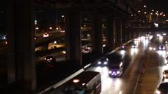 Motorway traffic at night Stock Footage