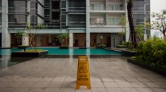 Stock Video Footage of Caution Wet Floor (Time lapse sequence)