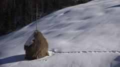 4K Winter Scene, Mountain Rustic View, Haystack, Cock, Hayrick Landscape Village Stock Footage