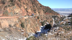 Jerome Arizona Canyon road traffic into valley HD 085 Stock Footage
