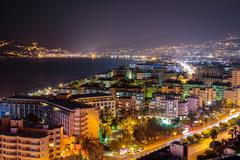 Coast in Alanya at night Stock Photos