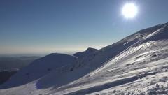 4K Snow Winter Scene, Mountain View, Blizzard Sunset Alpine Landscape Ski Resort Stock Footage