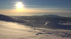 4K Snow Winter Scene, Mountain View, Blizzard Sunset Alpine Landscape Ski Resort - stock footage