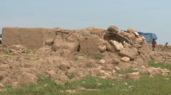 Ruins of Old Clay Home in The Village Stock Footage