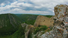 Necven fortress on the cliff Stock Footage