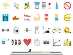 Fitness sport and health colorful flat design icons set Stock Illustration