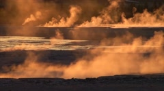 A geothermal region in Yellowstone National Park in golden light. Stock Footage