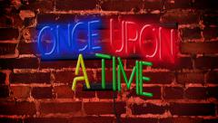 Once Upon a Time Neon Sign (4K) Stock Footage