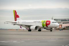 Budapest, hungary - march 5 - tap portugal flight, airbus a320 taxiing to the Stock Photos