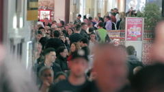 Timelapse of big crowd in shopping mall, christmas time Stock Footage