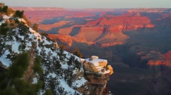 Grand Canyon rim at sunrise or sunset in winter. - stock footage