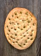 rustic italian rosemary herb foccacia bread - stock photo