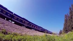 Passenger train passing through_fisheye perspective 3 (4k) Stock Footage