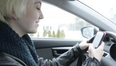 Distracted Driving with phone - stock footage