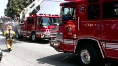 Burbank Fire Crews Fight Blaze 6 Stock Footage