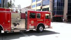 Burbank Firetruck Passes With Siren Stock Footage