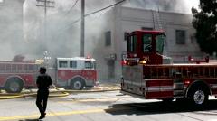 Burbank Fire Crews Fight Blaze 9 Stock Footage