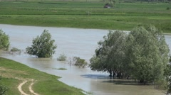 4K View Muddy River in Flood, Flooding by Rain, Storm, Dam, Flooded, Calamity - stock footage