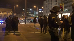 4k Pegida demonstration police troop and anti-demo Braunschweig Stock Footage