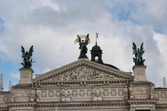Stock Photo of top of the building of opera-house in lvov
