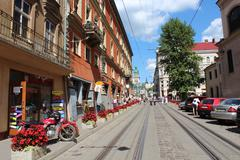 street in lvov with beautiful architecture - stock photo