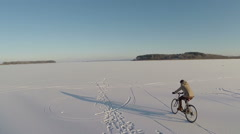 Bicycle on ice Stock Footage