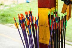 Arrows and target archery Stock Photos
