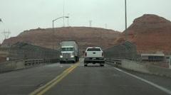 Arizona driving POV across Glen Canyon Dam bridge HD 025 Stock Footage
