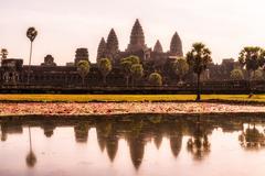 reflecting pond in Angkor Wat - stock photo