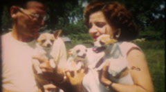 1601 - man & woman holding very active small dogs - vintage film home movie Stock Footage