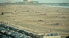 Santa Monica Beach Sand People Weekend Ocean Summer Parking Lot Cars Parked Stock Footage