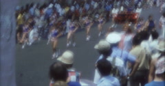 Stock Video Footage of New York Street Parade  70s 60s 16mm Cheerleader