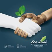 handshake eco deal concept with hand wood and paper / can be used for infogra - stock illustration