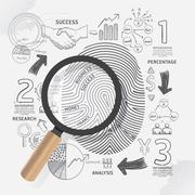 Business fingerprint doodles line drawing success strategy plan idea with mag Stock Illustration