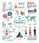 infographic social network template design . concept vector illustration - stock illustration