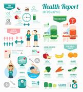 Stock Illustration of infographic health sport and wellness template design . concept vector illust