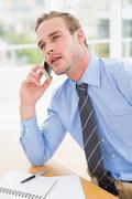 Attentively businessman speaking on the phone Stock Photos