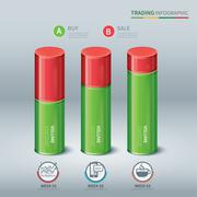 Trading cylindrical bars infographic Stock Illustration