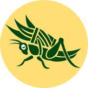 Stock Illustration of grasshopper carrying basket grass blade retro