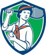 Female tennis player racquet vintage shield retro Stock Illustration